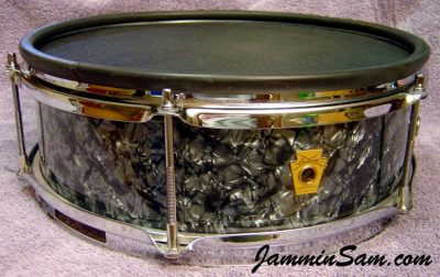 Photo of Wayne VanDenBroeke's Ludwig Pioneer snare e-drum with 80's Black Diamond Pearl drum wrap (1)