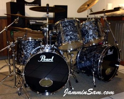 Photo of Blane Taylor's 1985 Pearl World series set of drums with Vintage Black Diamond Pearl drum wrap (90)