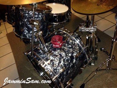 Photo of Blane Taylor's 1985 Pearl World series set of drums with Vintage Black Diamond Pearl drum wrap (92)