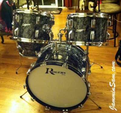 Photo of Chris Casarcia's Rogers set of drums with Vintage Black Diamond Pearl drum wrap (2)