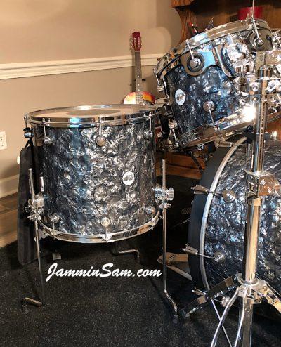 Photo of Phillip Ryan's DW Design Series set of drums with Vintage Black Diamond Pearl drum wrap (76)