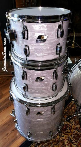 Photo of Gary Padgett's set of drums with Vintage Marine Pearl drum wrap (16)