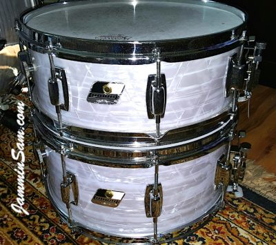 Photo of Gary Padgett's set of drums with Vintage Marine Pearl drum wrap (20)