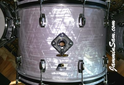 Photo of Gary Padgett's set of drums with Vintage Marine Pearl drum wrap (25)