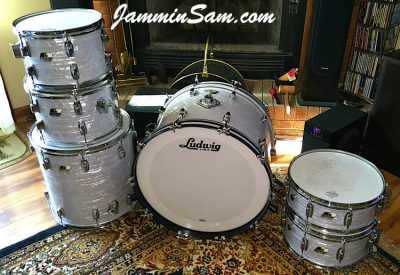 Photo of Gary Padgett's set of drums with Vintage Marine Pearl drum wrap (33)