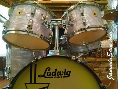 Photo of Ted MacKenzie's Slingerland drums with Vintage Marine Pearl drum material