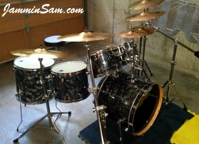 Photo of John Morin's Pacific CX drumset with Vintage Black Diamond Pearl drum wrap (1)