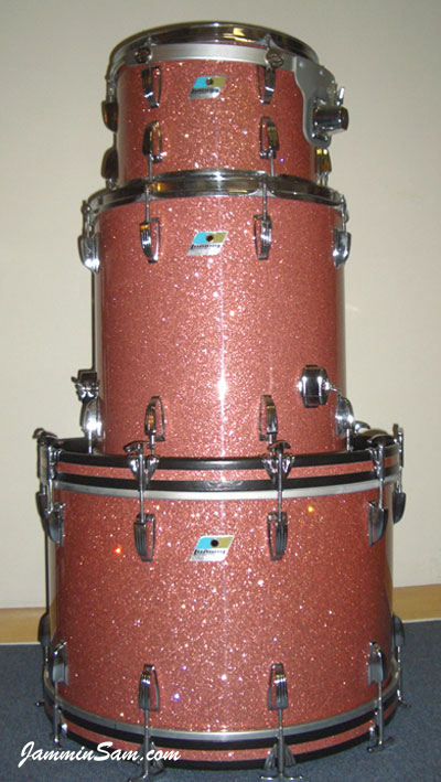 Photo of Alan Takaoka's Ludwig drums with Pink Glass Glitter drum wrap