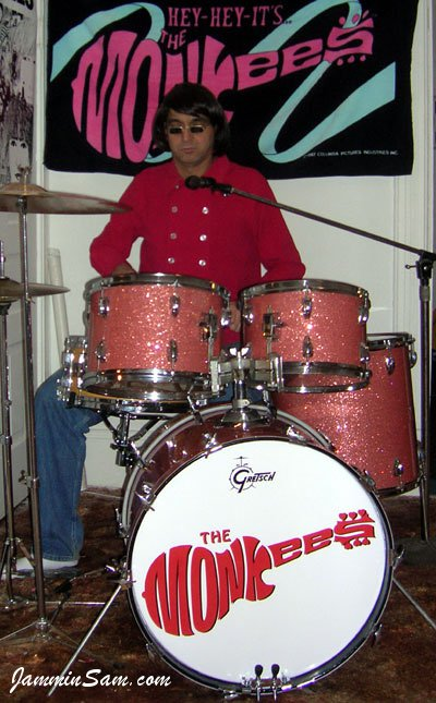 Photo of Richard Schittenhelm's Slingerland drums with Pink Glass Glitter drum wrap (1) [Monkees' Tribute]