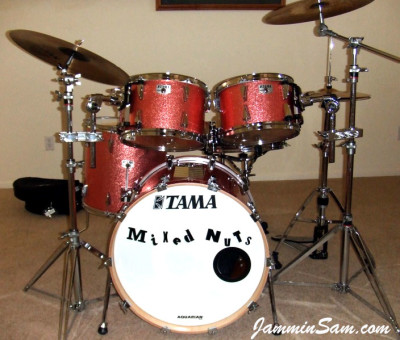 Photo of Dan Hertlein's Tama drum set with Pink Vintage Sparkle drum wrap (1)