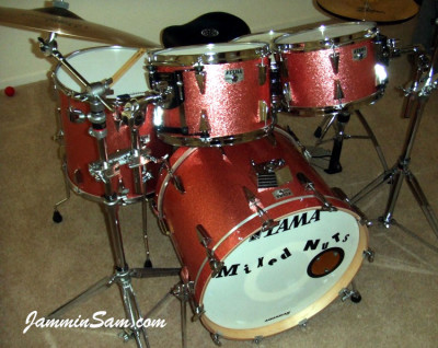 Photo of Dan Hertlein's Tama drum set with Pink Vintage Sparkle drum wrap (2)