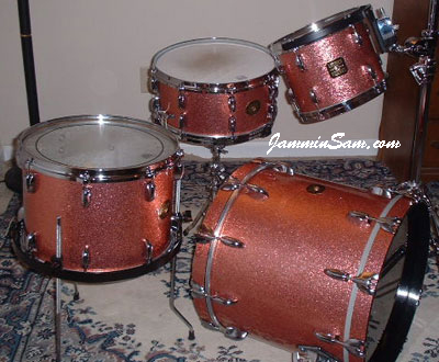 Photo of Roberta Haworth's Gretsch drumset with Pink Vintage Sparkle drum wrap (11)