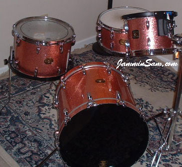 Photo of Roberta Haworth's Gretsch drumset with Pink Vintage Sparkle drum wrap (12)