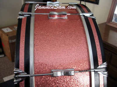 Photo of Roberta Haworth's Gretsch drumset with Pink Vintage Sparkle drum wrap (2)