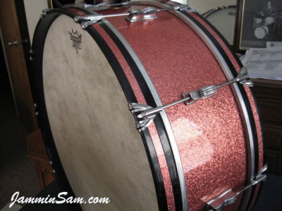 Photo of Roberta Haworth's Gretsch drumset with Pink Vintage Sparkle drum wrap (3)