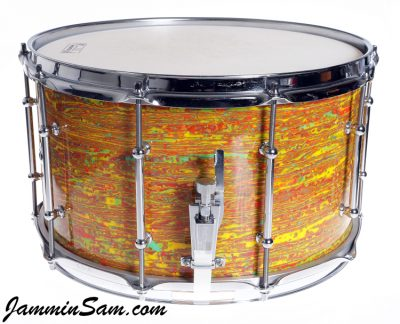 Photo of Andy Amyx's Ludwig snare drum with Psychedelic Citrus Mod drum wrap (28)