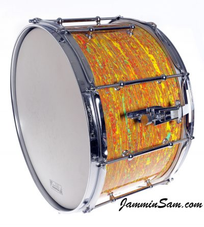 Photo of Andy Amyx's Ludwig snare drum with Psychedelic Citrus Mod drum wrap (37)
