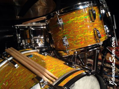 Photo of Iain Rose's vintage Ludwig drum set with Psychedelic Citrus Mod (64)