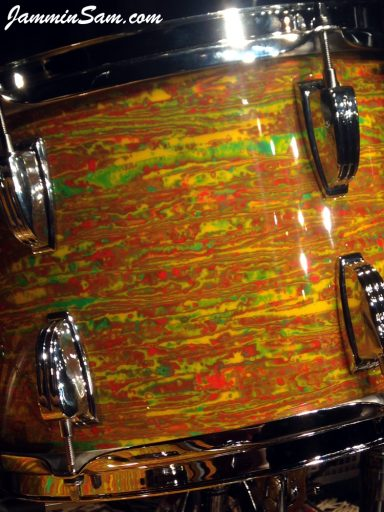 Photo of Iain Rose's vintage Ludwig drum set with Psychedelic Citrus Mod (65)