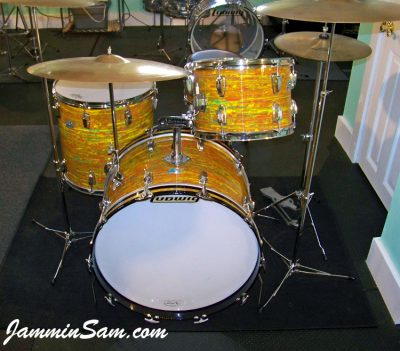 Photo of Aaron Romero's 1969/70 Ludwig drum kit with Psychedelic Citrus Mod (6)