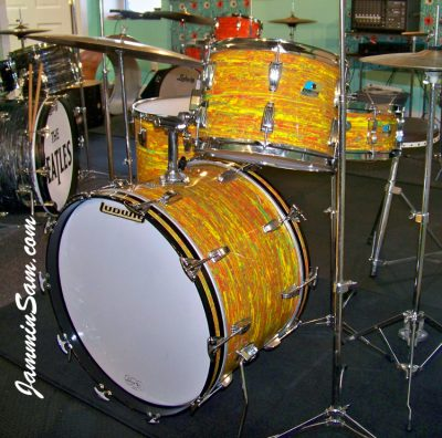 Photo of Aaron Romero's 1969/70 Ludwig drum kit with Psychedelic Citrus Mod (7)