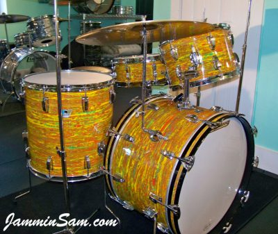Photo of Aaron Romero's 1969/70 Ludwig drum kit with Psychedelic Citrus Mod (8)