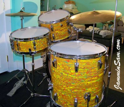 Photo of Aaron Romero's 1969/70 Ludwig drum kit with Psychedelic Citrus Mod (11)