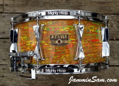 Photo of Erik Josephson's Tama birch snare drum with Psychedelic Citrus Mod drum wrap (2)