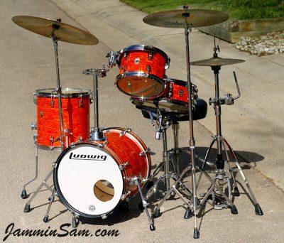 Photo of Jon Akal's Ludwig Breakbeat drum set with Psychedelic Mod Orange drum wrap (4)