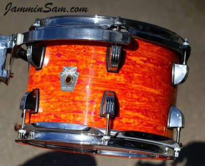 Photo of Jon Akal's Ludwig Breakbeat drum set with Psychedelic Mod Orange drum wrap (5)