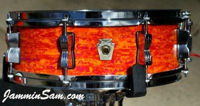 Photo of Jon Akal's Ludwig Breakbeat drum set with Psychedelic Mod Orange drum wrap (6)