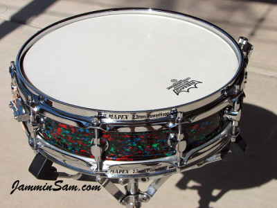 Photo of Anthony Falkner's Mapex snare with Psychedelic Red drum wrap (72)