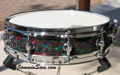 Photo of Anthony Falkner's Mapex snare with Psychedelic Red drum wrap (74)