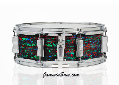 Photo of Anthony Scott's Ludwig snare drum with Psychedelic Red drum wrap (1)