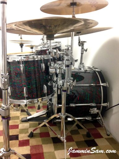Photo of Jay Cohen's drum set with Psychedelic Red drum wrap (63)