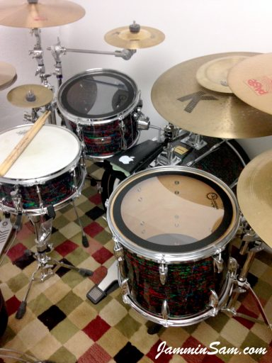 Photo of Jay Cohen's drum set with Psychedelic Red drum wrap (64)
