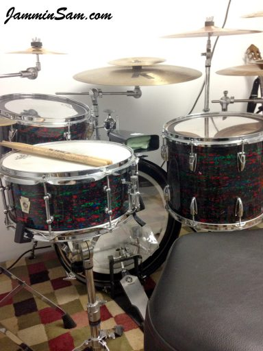 Photo of Jay Cohen's drum set with Psychedelic Red drum wrap (65)