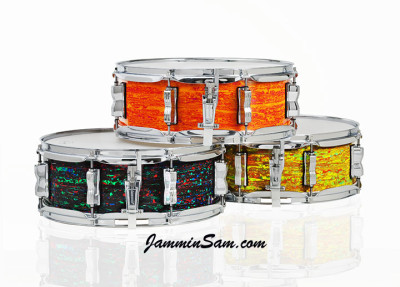 Photo of Anthony Scott's Ludwig snare drums with Psychedelic drum wraps (4)