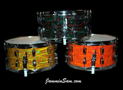 Photo of Joe Biggiotti's Psychedelic wrapped drums, including Mod Orange (34)