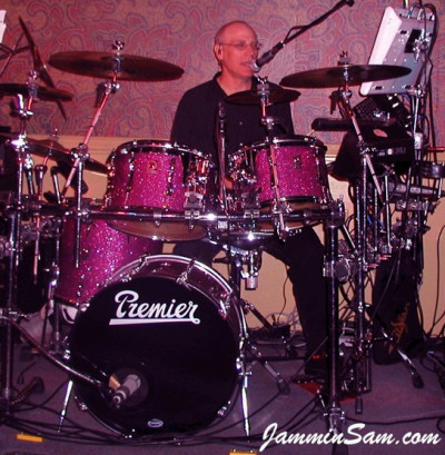 Photo of Dan Herlein's Premier drums with Purple Glass Glitter drum wrap (1)