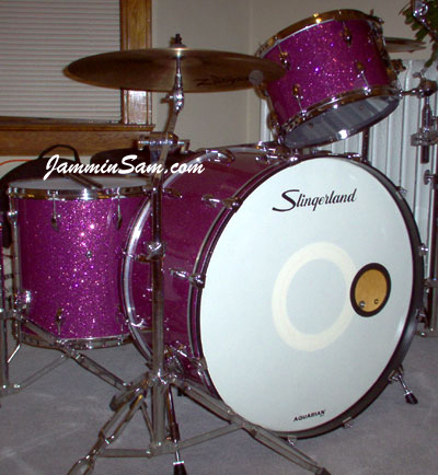 Photo of John Noren's Slingerland drums with Purple Glass Glitter drum wrap (2)