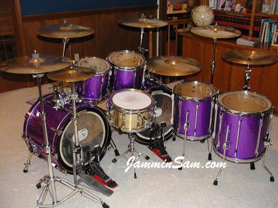 Photo of Brannon Galliway's Pearl drums with Purple Metal drum wrap (2)