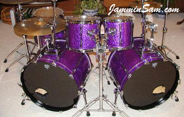 Photo of Brannon Galliway's Pearl drums with Purple Metal drum wrap