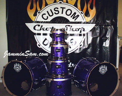 Photo of Brian Cocivera's custom drums with Purple Metal drum wrap