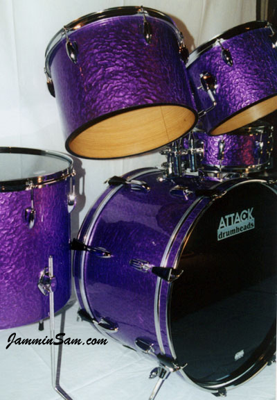 Photo of Martie Hall's drums with Purple Metal drum wrap