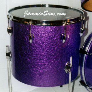 Photo of Martie Hall's tom with Purple Metal drum wrap