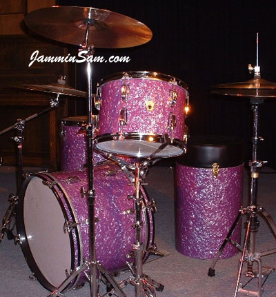 Photo of Doug Grant's Ludwig drums with Purple Pearl drum wrap