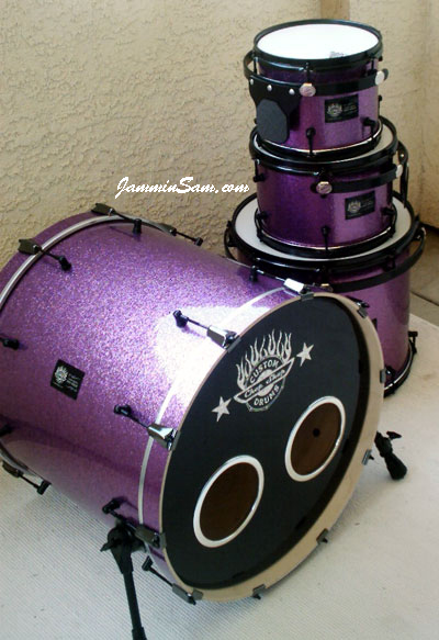 Photo of Brian Cocivera's custome drums with Purple Vintage Sparkle drum wrap (1)