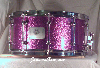 Photo of Brian Cocivera's custom drums with Purple Vintage Sparkle drum wrap (2)