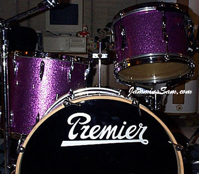 Photo of Mark Grove's Premier drumset with Purples Vintage Sparkle drum wrap